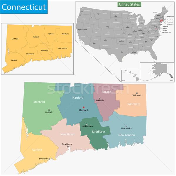 Connecticut mapa ilustração EUA Washington pormenor Foto stock © Volina