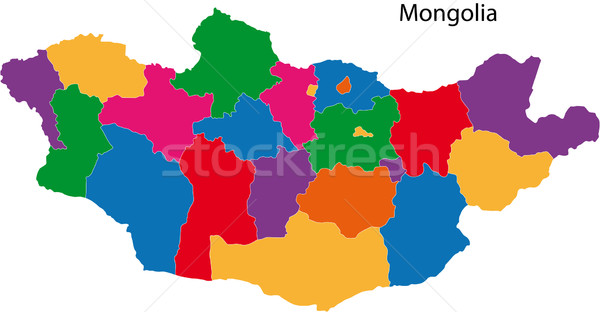 Farbenreich Mongolei Karte administrative Stadt asian Stock foto © Volina