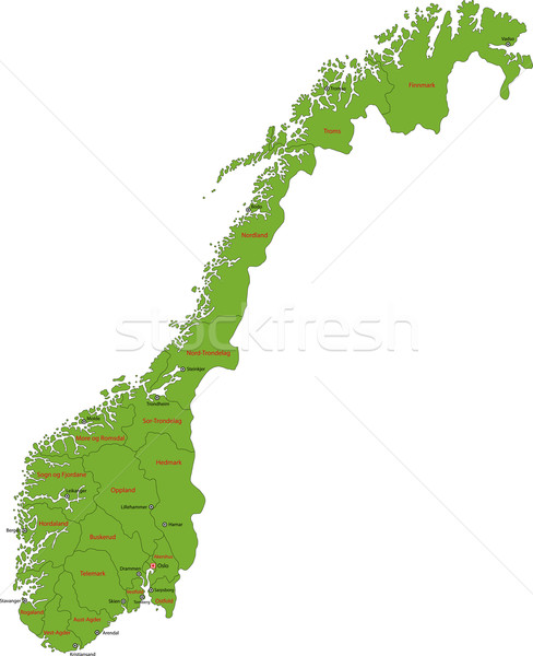 Green Norway map Stock photo © Volina