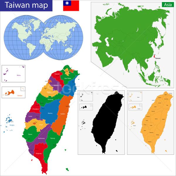 Taiwan map Stock photo © Volina