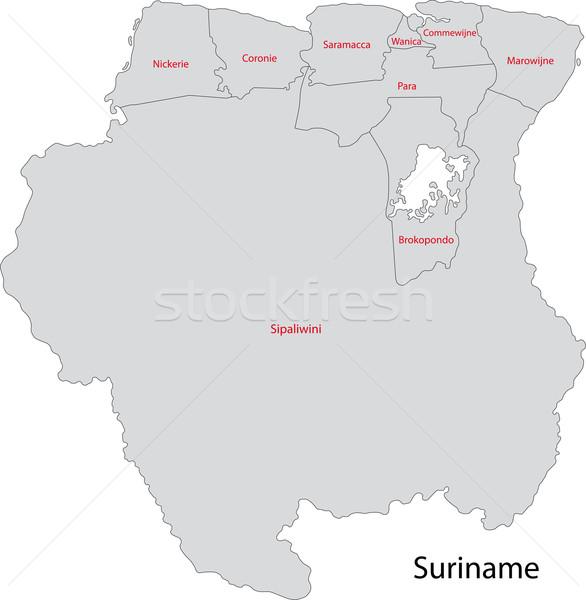Gray Suriname map Stock photo © Volina