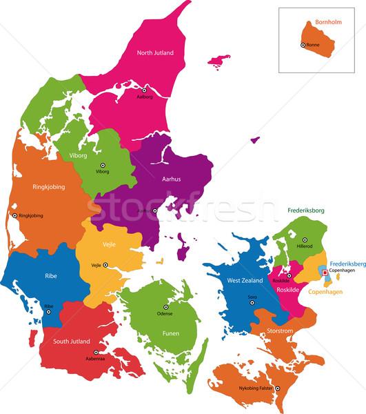 Dinamarca mapa administrativo globo cidade mundo Foto stock © Volina