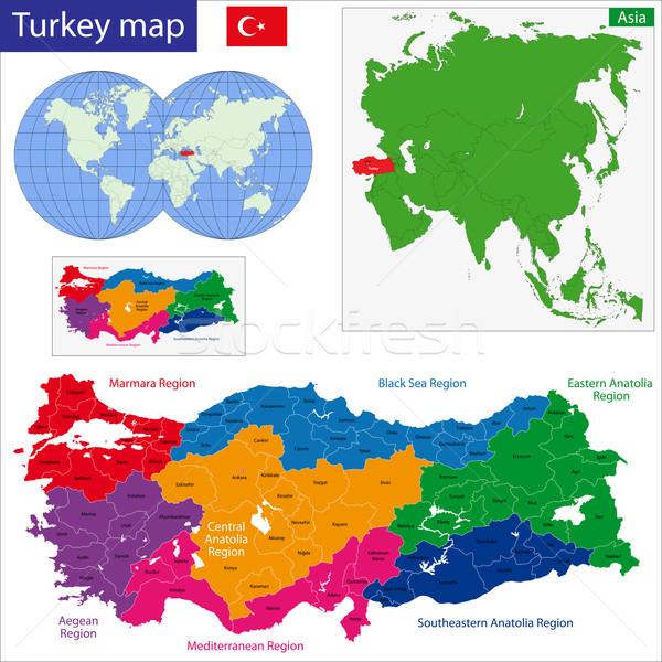 Turquia mapa ilustração regiões brilhante Foto stock © Volina