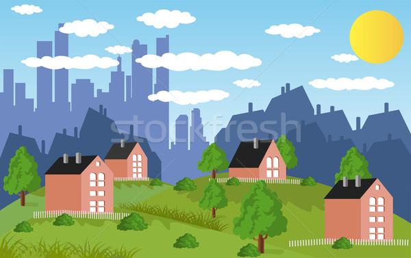 Suburbano casas desenho animado ilustração cidade subúrbio Foto stock © Volina