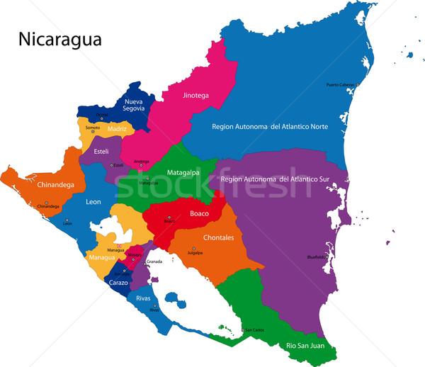 Nicaragua térkép köztársaság város szín diagram Stock fotó © Volina