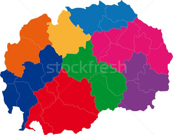 Macédoine carte administrative république ville silhouette Photo stock © Volina