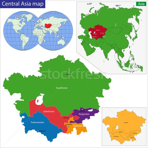 Centrale Asia mappa colore asian paese Foto d'archivio © Volina