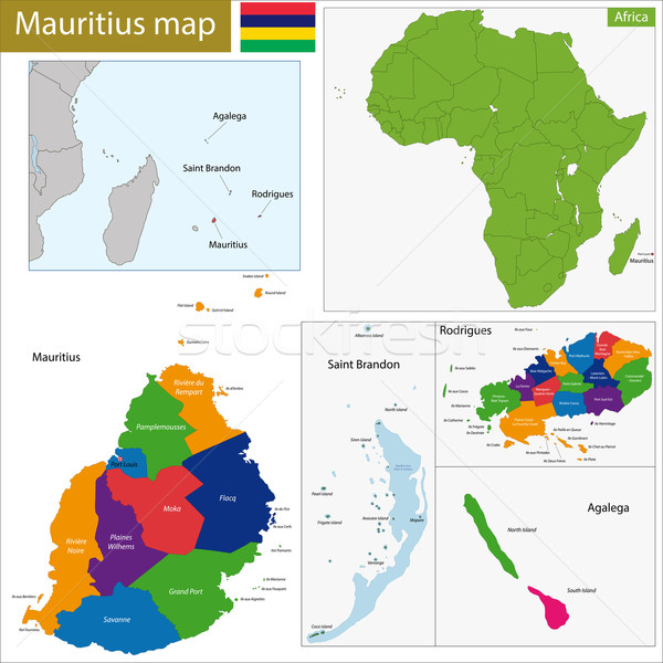Mauritius mappa amministrativa repubblica isola paese Foto d'archivio © Volina