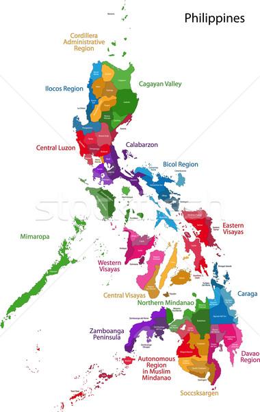 Fülöp-szigetek térkép köztársaság nyolcvan város szín Stock fotó © Volina