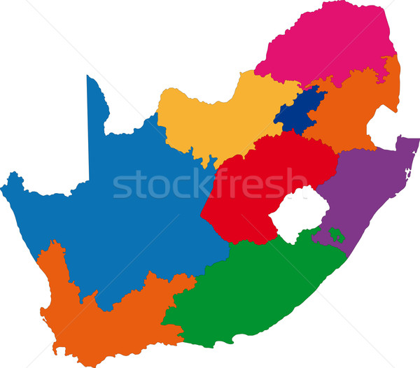 Renkli Güney Afrika harita idari şehir Afrika Stok fotoğraf © Volina