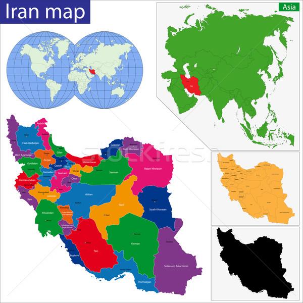 Iszlám köztársaság Irán térkép színes fényes Stock fotó © Volina