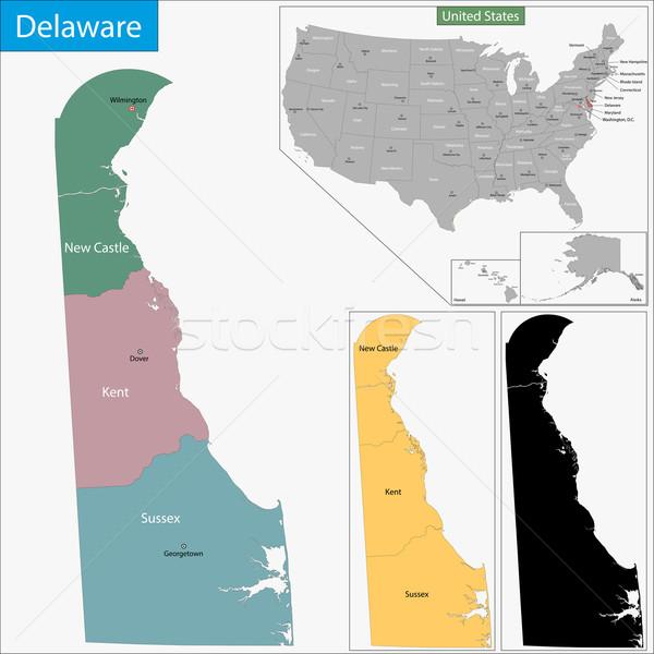 Delaware mapa ilustração EUA Washington pormenor Foto stock © Volina