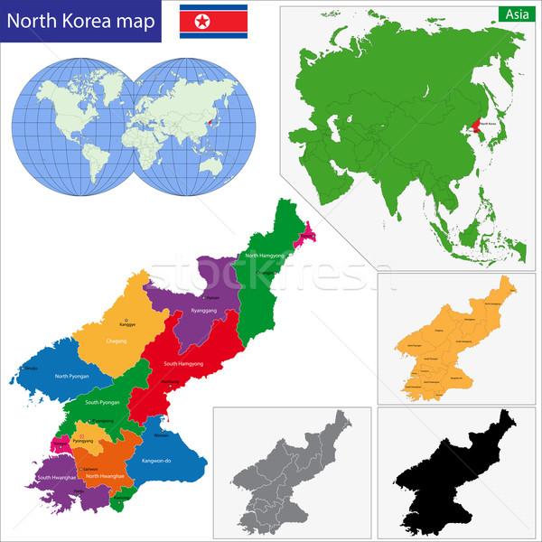 Norte mapa administrativo ciudad Asia país Foto stock © Volina