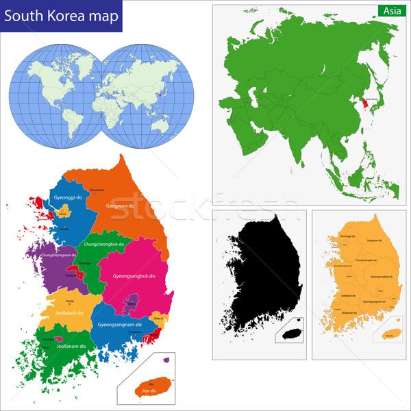 South Korea map Stock photo © Volina