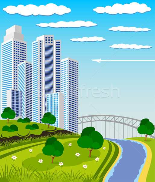 Modern metropol ufuk çizgisi örnek şehir park Stok fotoğraf © Volina