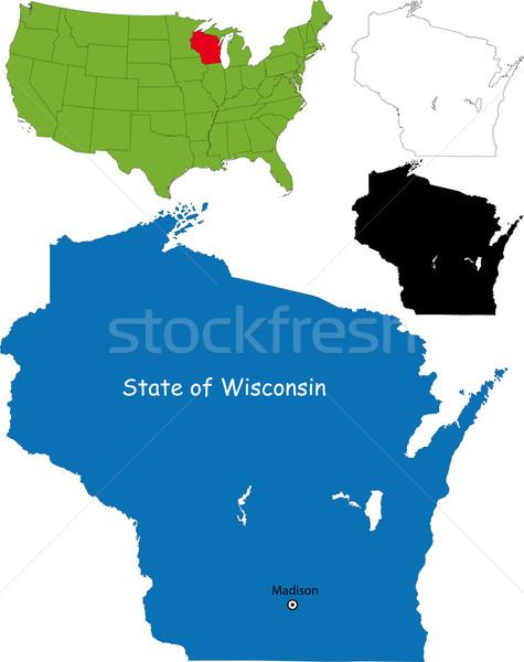 Висконсин карта иллюстрация США путешествия цвета Сток-фото © Volina