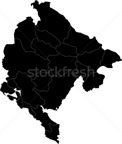 Schwarz Montenegro Karte administrative Stadt Land Stock foto © Volina
