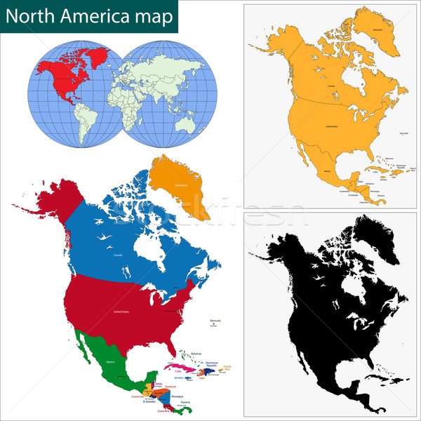 észak Amerika térkép színes országok fővárosok Stock fotó © Volina