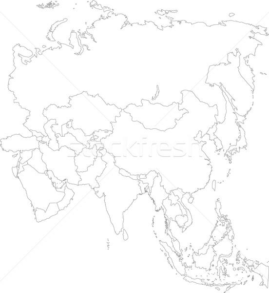 Outline Asia map vector illustration © Iryna Volina (Volina ...
