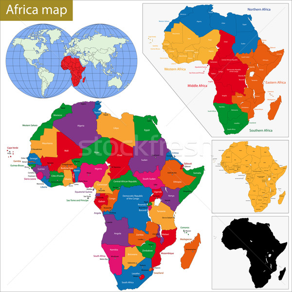 Африка карта красочный город Мир Сток-фото © Volina