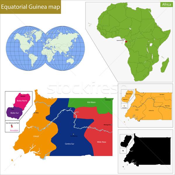 Equatoriaal-Guinea kaart hoog detail nauwkeurigheid gekleurd Stockfoto © Volina