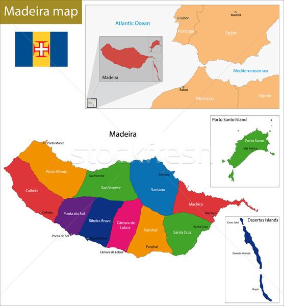 Madeira harita örnek bölge Afrika Portekiz Stok fotoğraf © Volina