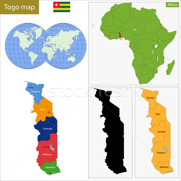 Togo kaart administratief republiek kleurrijk afrikaanse Stockfoto © Volina