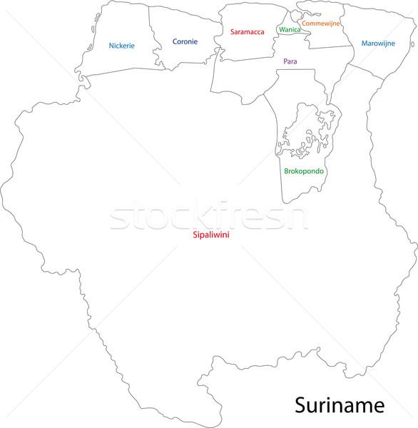 Surinam mapa administrativo ciudad diseno Foto stock © Volina