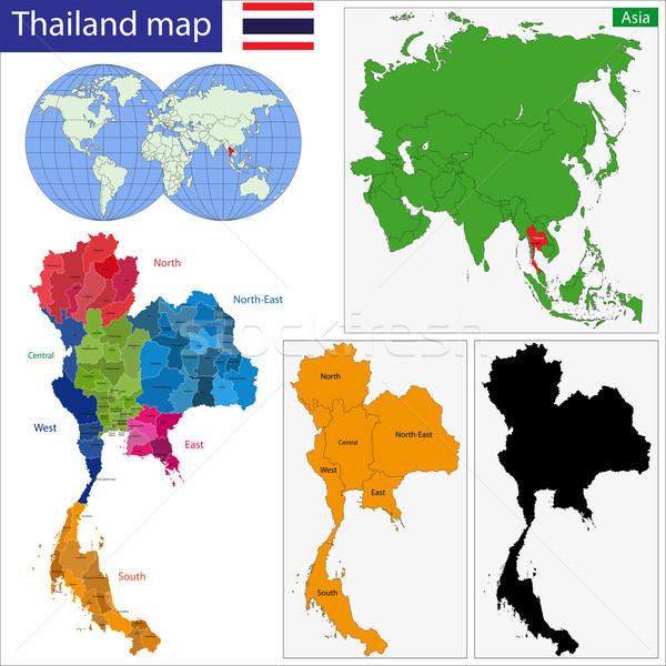 Harita krallık Tayland renkli parlak renkler Stok fotoğraf © Volina
