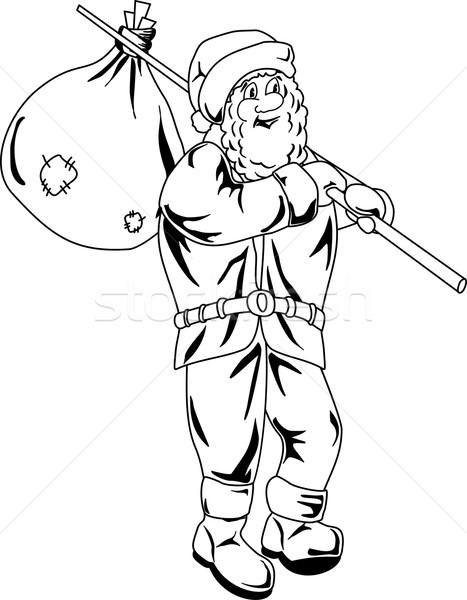 Karikatür noel baba çanta omuz gülümseme toprak Stok fotoğraf © Volina