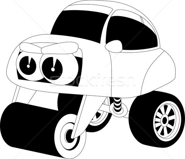 Desenho animado carro preto e branco ilustração cara feliz Foto stock © Volina
