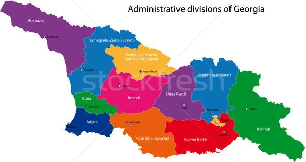 Geórgia mapa administrativo cidade asiático país Foto stock © Volina