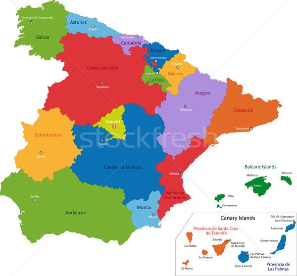 Espanha mapa administrativo reino cidade país Foto stock © Volina