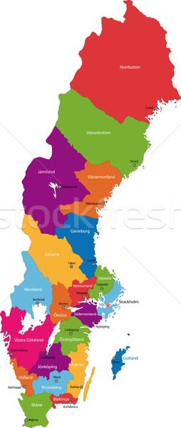 Suecia mapa administrativo reino ciudad silueta Foto stock © Volina