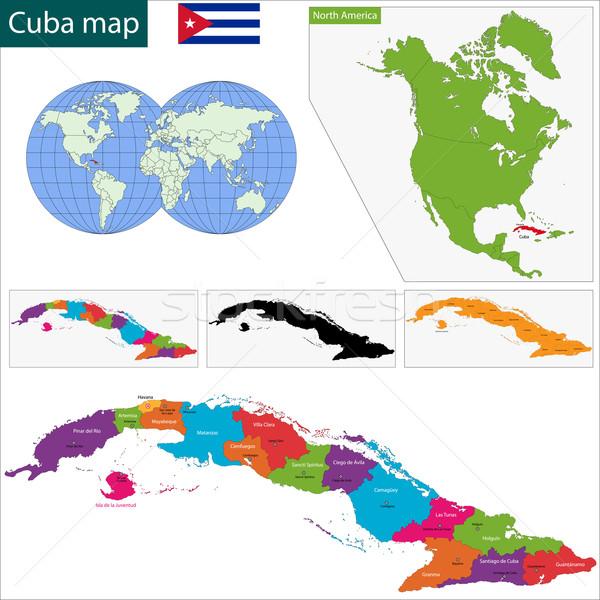 Kuba térkép színes fővárosok város szín Stock fotó © Volina
