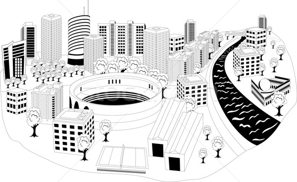 Modern şehir metropol siyah beyaz örnek Cityscape Stok fotoğraf © Volina