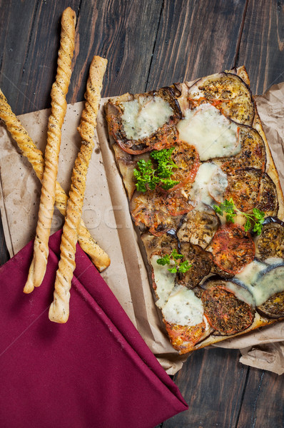 Traditional Focaccia with eggplant and tomatoes  Stock photo © voloshin311