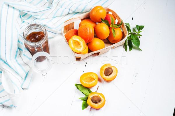 Cesta atasco blanco madera verano naranja Foto stock © voloshin311