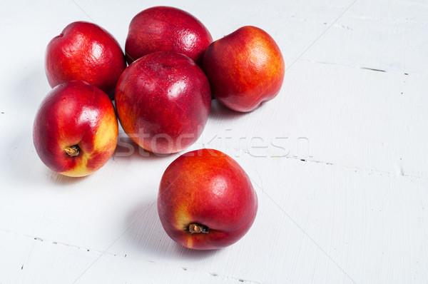Fehér fa asztal közelkép fa absztrakt gyümölcs Stock fotó © voloshin311