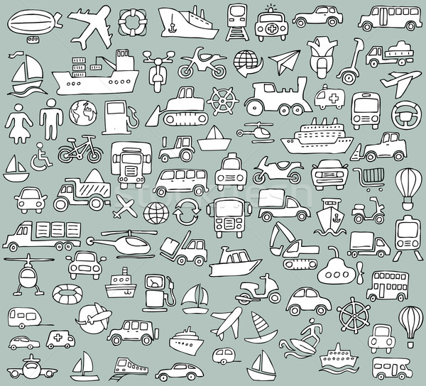 Big doodled transportation icons collection in black-and-white Stock photo © VOOK