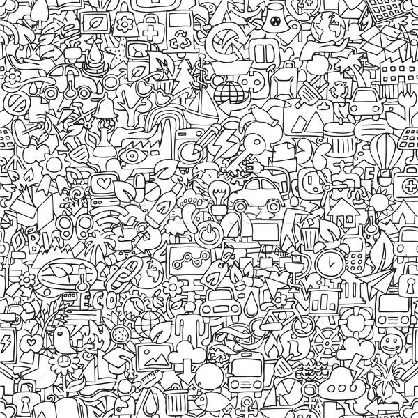 Foto stock: Ecologia · preto · e · branco · mini · rabisco · desenhos