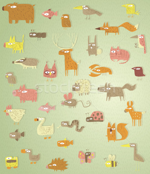 Stock photo: Big Grunge Animals Collection in colours, with grunge texture