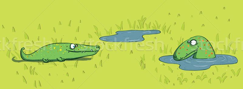 Krokodillen water illustratie eps10 vector hand Stockfoto © VOOK