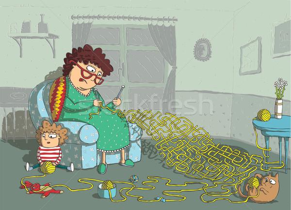 Avó crochê labirinto jogo mão desenho Foto stock © VOOK