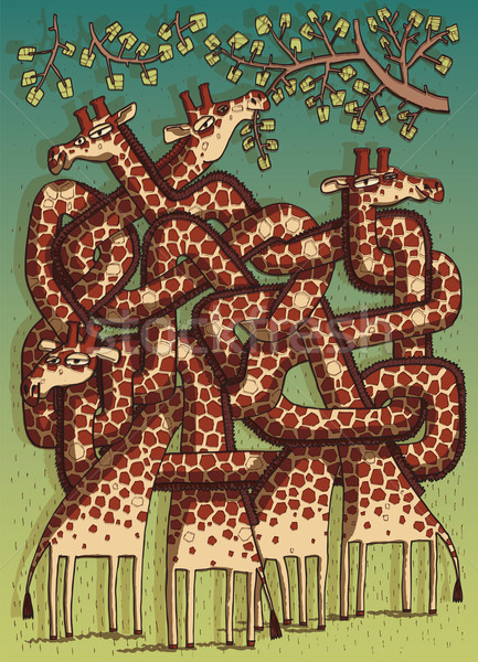 Giraffen doolhof spel kinderen lagen taak Stockfoto © VOOK