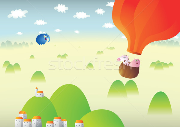 Foggy Landscape With Red Baloon  Stock photo © VOOK