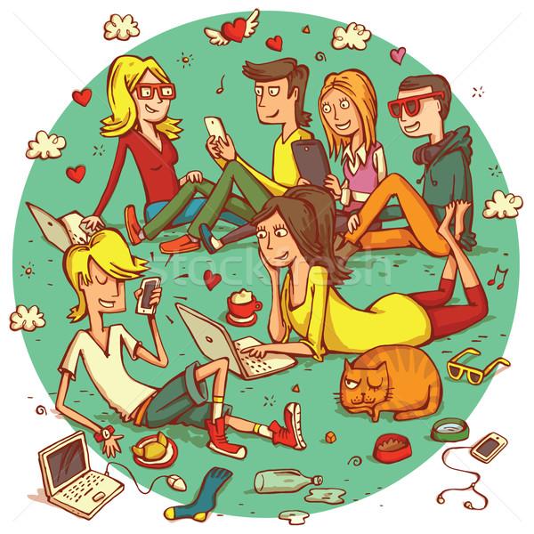 Telekommunikáció emberek csoport tini barátok kütyük Stock fotó © VOOK