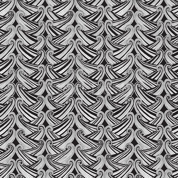 лодка черно белые рисованной чернила иллюстрация Сток-фото © VOOK