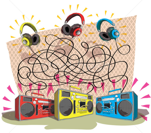 Headphones Maze Game Stock photo © VOOK