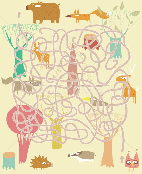 Animals Maze Game. Solution in hidden layer! Stock photo © VOOK